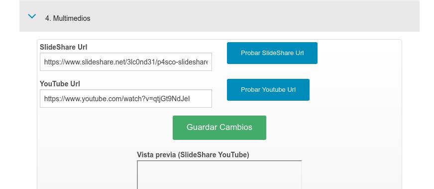 Campo para la URL de SlideShare con la presentación del servicio