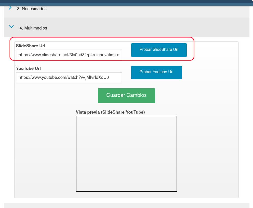 Campo para la URL de SlideShare con la presentación empresarial